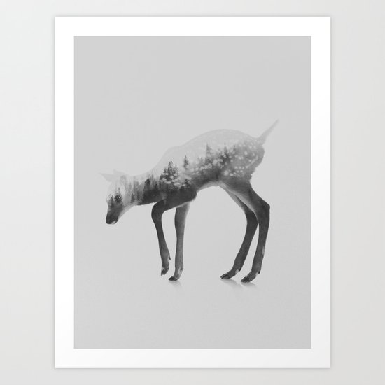 Deer (black & white version) Art Print