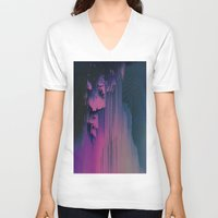 fringe V-neck T-shirts featuring Pink Fringe by DuckyB