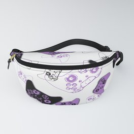 Video Game White & Lavender Fanny Pack