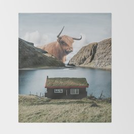 The Creature at the Cottage in the Faroe Islands Denmark Throw Blanket