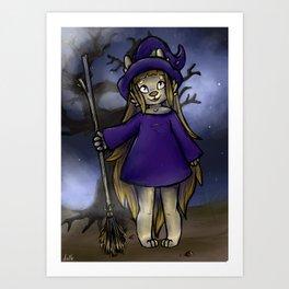 Puppy Witch Art Print