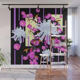 Modern Art White Spider Mums Pink Flowers Black Wall Mural