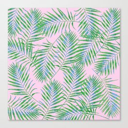 Fern Leaves Pink Canvas Print
