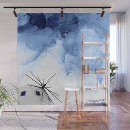 Blue Abstract Painting, Windmill Photography Wall Mural