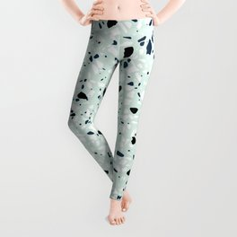 'Speckle Party' Navy Mint Black White Dots Speckle Terrazzo Pattern Leggings