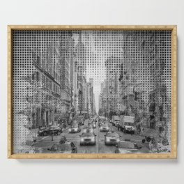 Graphic Art NEW YORK CITY Traffic | Monochrome Serving Tray