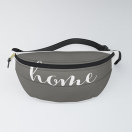 Wyoming is Home - Charcoal on White Wood Fanny Pack