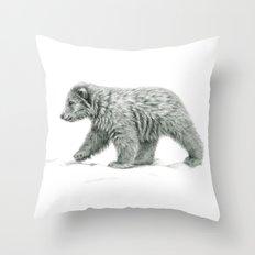 Polar bear's cub   B/W bis G2011-16 Throw Pillow
