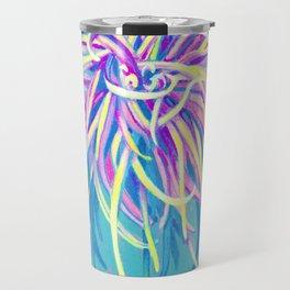 Bright Blue Pop Art Chrysanthemum Travel Mug