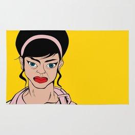 Retro looking angry woman. Pop Art. Rug