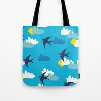 swallow Tote Bags featuring Swallow by Maedchenwahn