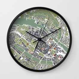 Copenhagen city map engraving Wall Clock