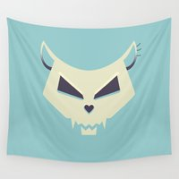 pastel goth Wall Tapestries featuring Pastel Evil Cat Skull by Boriana Giormova