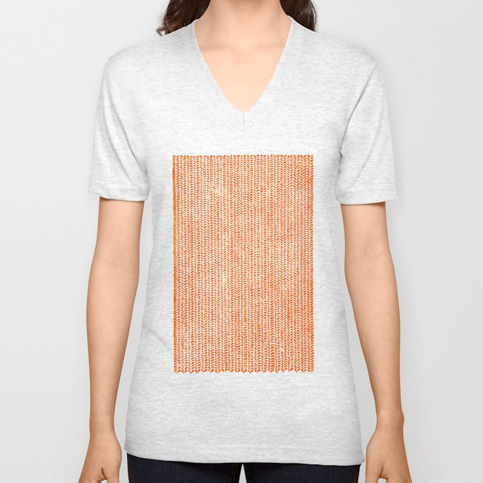 Stockinette Orange Unisex V-Neck