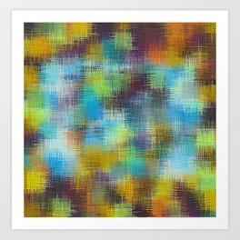 brown blue and black plaid pattern Art Print