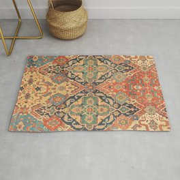 Geometric Leaves VIII // 18th Century Distressed Red Blue Green Colorful Ornate Accent Rug Pattern Rug