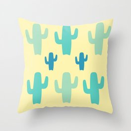 Green Cactus with Yellow Background Throw Pillow