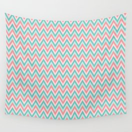 Pink & Blue Chevrons Wall Tapestry