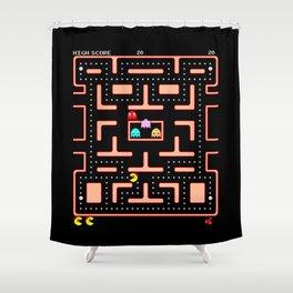 """Ms. Pac-Man """"Nom, Nom, Nom""""  Shower Curtain"""