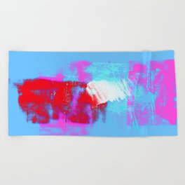 abstract blue pink Beach Towel