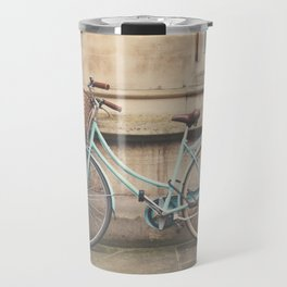 a mint green bicycle in Cambridge, England Travel Mug