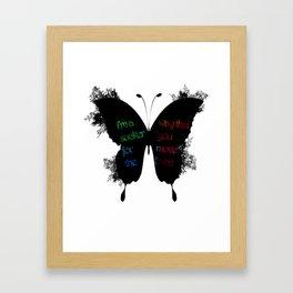 silhouette butterfly ink Framed Art Print