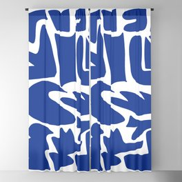 Blue shapes on white background Blackout Curtain