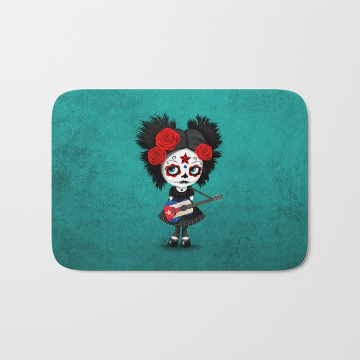 Day of the Dead Girl Playing Cuban Flag Guitar Bath Mat