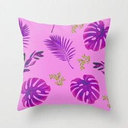 Beautiful Purple Foliage Print Throw Pillow
