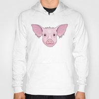 pig Hoodies featuring Pig by Compassion Collective
