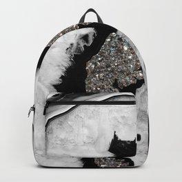 Gray Black White Agate with Silver Glitter #1 #gem #decor #art #society6 Backpack