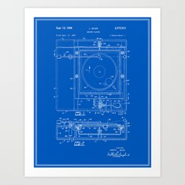 Record Player Patent - Blueprint Art Print