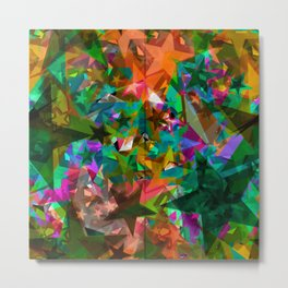 Bright green stars from foil on orange shards of glass. Metal Print