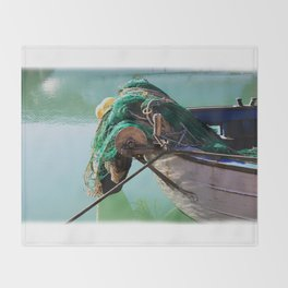 Fishing boat Throw Blanket