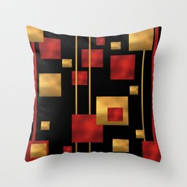 Red and Gold Foil Blocks Throw Pillow