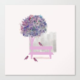 Park bench tree and birds Canvas Print