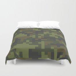 Green Pixel Woodland Camo pattern Duvet Cover