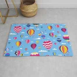 Colorful seamless pattern with air balloons and clouds in the blue sky Rug