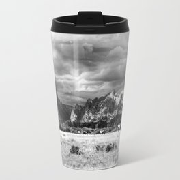 Horse and Grand Teton (Black and White) Travel Mug