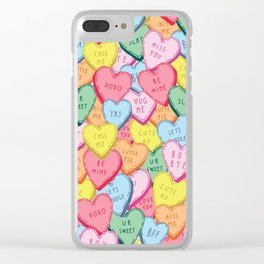 Candy Hearts Multicolour Clear iPhone Case
