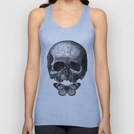 Skull and Butterfly - vintage engraving college by Fleuriosity Unisex Tank Top