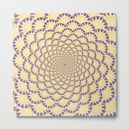 Lavender and Gold Sundial Spiral Metal Print