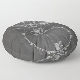 Snare Drum Patent - Drummer Art - Black Chalkboard Floor Pillow