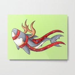 Reindeer Shark Metal Print