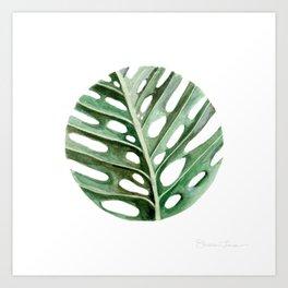 Circular Monstera Leaf Painting Art Print