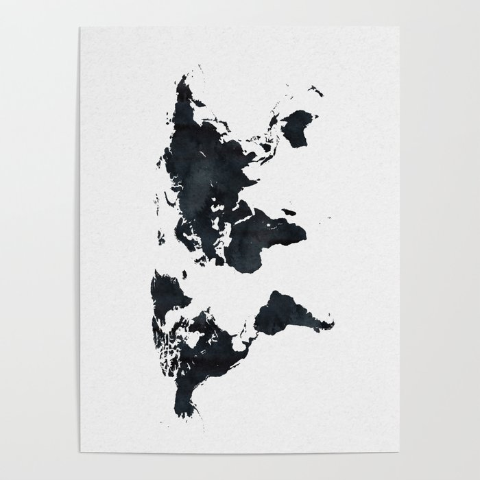 World map in black and white ink on paper poster by naturemagick world map in black and white ink on paper poster gumiabroncs Gallery