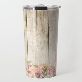 Vintage Rustic Romantic Roses Wooden Plank Travel Mug