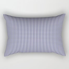 USA Flag Blue and White Gingham Checked Rectangular Pillow