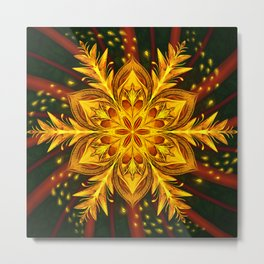 Forest Fire Flake Metal Print