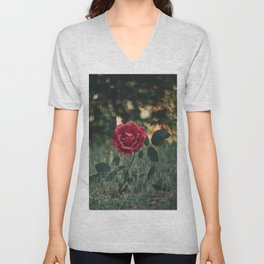 Single Red Rose In A Grassy Field With Bokeh Maple Leaves In The Background Unisex V-Neck